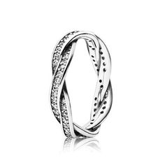Pandora Jewelry Twist Of Fate Stackable Ring, Clear CZ - Two rows of clear sparkling cubic zirconias entwine in this sterling silver ring, representing how your lives are connected. Beautiful alone and also stacked with your favorite PANDORA rings. Pandora Charms, Pandora Bracelets, Pandora Jewelry, Silver Jewelry, Pandora Pandora, Cheap Pandora, Pandora Silver Rings, Jewlery, Jewelry Rings