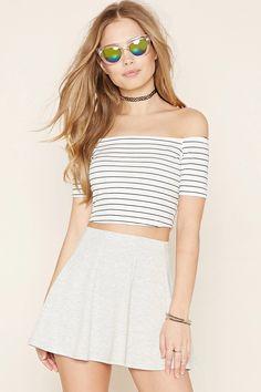 A knit skater skirt with a mini length and an elasticized waist. #nowtrending