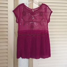 Amazing free people beaded sequin top sheer blouse No trades . Vintage look beaded tops. I'm firm on the price . Fraying on the bottom is designer made . There might be some beads missing but I can notice it . Free People Tops Blouses
