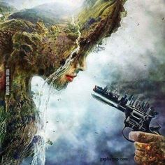 """Beautiful!I think this has a deep meaning, like tje """"girl"""" thats """"crying"""" represents mother nature, and the """"city"""" on the gun shows the pollution  humans have done. I don't know about the hand do."""