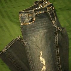 Distressed, studded jeans by seven Super cute studded jeans with factory distressing and a little stretch 7 for all Mankind Jeans Skinny