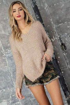 Coco Popcorn Pullover Sweater 57% Polyester 35% Nylon 8% Acrylic V Neck Asymmetrical Hem Super Soft In Stock Popcorn, Pullover Sweaters, Turtle Neck, V Neck, Boutique, Dresses, Products, Fashion, Vestidos