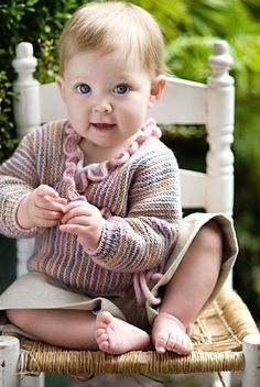 Ravelry: Baby Wrap Sweater pattern by Churchmouse Yarns and Teas - only if it's a girl, so I can add the ruffle Knitting For Kids, Knitting Projects, Baby Knitting, Spool Knitting, Knitting Ideas, Knitting Patterns, Baby Pullover, Baby Cardigan, I Cord