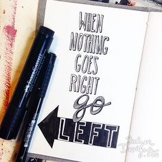 Like the use of black & white (especially a quote) on a journal page and have fun and get creative with lettering.