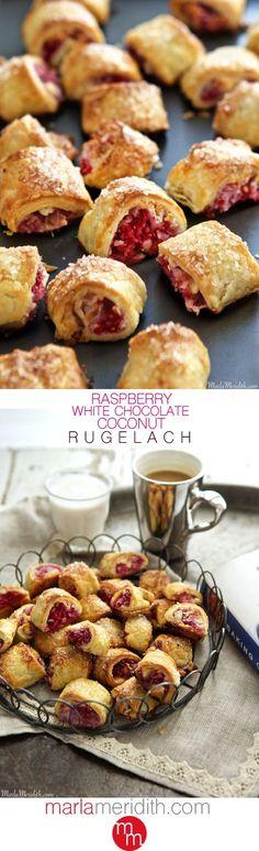 Raspberry, White Chocolate & Coconut Rugelach   MarlaMeridith.com