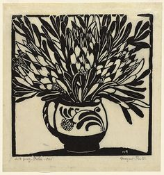 Margaret Preston was an Australian painter and printmaker who was inspired by her native flora and rendered it in some magical botanical artworks. Linocut Prints, Art Prints, Block Prints, Margaret Preston, Australian Wildflowers, Plant Illustration, Indigenous Art, Monochrom, Stencil Painting