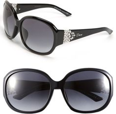 Dior Christian Oversized - Special Fit Crystal Temple Sunglasses