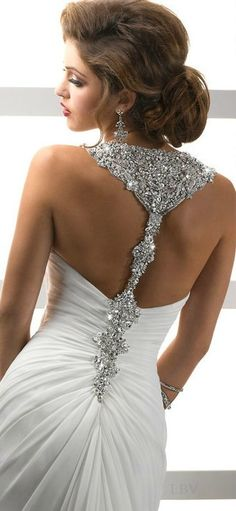 Beautiful Silhouette of Paris Chiffon, Ꮗ/Spectacular, Swarovski Crystal  Embellishment, Delanie~by Maggie Sottero~❥