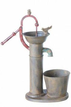 Vintage/Primitive Metal Pump, Galvanized Steel Plant Holder, Pump Planter