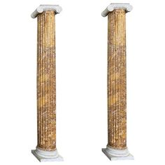 Pair of Monumental Faux Marble Painted Black Cement Columns / Pedestals For Sale at 1stDibs Marble Pillar, Marble Columns, Carrara Marble, Marble Painting, Black Cement, Italian Marble, Neoclassical, Pedestal, Stone
