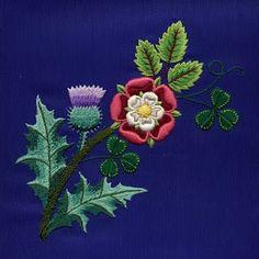 English Roses Embroidery / Scottish Thistle, English Rose and Irish Shamrock Scottish Thistle Tattoo, Scottish Tattoos, Rose Embroidery, Embroidery Patterns, Machine Embroidery, Tudor Rose Tattoos, St Margaret Of Scotland, Margaret Tudor, Wool Applique