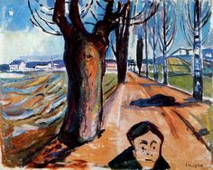 Oil on canvas;    110 x 138 cm.  Edvard Munch (1863-1944) was a turn-of-the-century Norwegian artist, best known for his extremely personal brand of Symbolism, which helped lay the foundations for and proved a lasting influence on the later Expressionist school of art.  Edvard Munch was born on December 12, 1863, in the small town of Loten, Norway, as the second of five children. His father was Christian Munch, a military doctor, and his mother Laura Cathrine Munch, née Bjolstad. Edvard had…