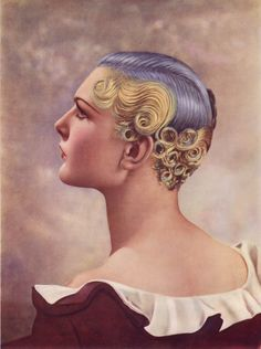 "1st Prize at the Hairdressing Fashion Exhibition, London 1935. Color was achieved by incorporating pigments in the setting lotion – so it wasn't permanent color. Original source: Permanent Waving: The Golden Years - Louis Calvete - 2007 -   This is an account of the company I. Calvete and Eugene. After WWI , during ""Modernism"", there was a revolution in the styles and technology of ladies' hairdressing.  I. Calvete designed the first practical heaters for permanent-waving."