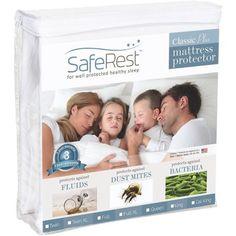 SafeRest Classic Plus Hypoallergenic 100% Waterproof Mattress Protector - Vinyl Free, Multiple Sizes