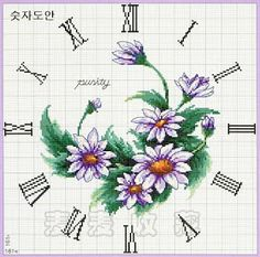 FREE Point Cruz: Romantic flower clock cross stitch 4-4