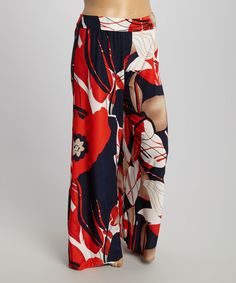 Look at this #zulilyfind! Navy & Red Floral Palazzo Pants - Plus by GLAM #zulilyfinds