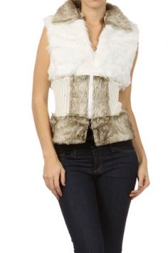 60 percent Cotton 40 percent Polyester 2S/M, 2L/XL Per Pack White (shown), Black, Gray This HIGH QUALITY vest is BEAUTIFUL! Made from a great faux fur, this adorable hip-length vest with zipper and chunky knit waist is super comfy, and fits true to size.
