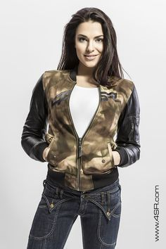 4d9e1188 4SR biker Jeans Lady Star & Bomber Camo Lady #bikerjeans #kevlarjeans  Motorcycle Leather