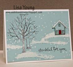 Lisa Young: Add Ink and Stamp – Sheltering Tree and house on a hill - 1/24/15 (SU- Sheltering Tree (2015 Occ), You Brighten My Day (2015 SAB, What's Up punch) (Pin#1: Christmas: Scenes)