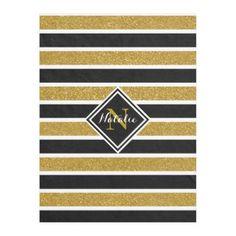 Gold Glitter B&W Stripes w/ Name & Monogram Fleece Blanket - home decor design art diy cyo custom