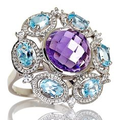 Treasures of India 11.73ct Amethyst and Topaz Ring