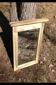 """This rustic and contemporary framed mirror is made from Red Pine and is a """"made to order"""" item from my Etsy store.  Click the blue """"Request Custom Order"""" button to order one to be made to the size you desire!  www.etsy.com/shop/alongtheridge"""