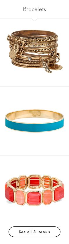 """""""Bracelets"""" by haylee-rosalia ❤ liked on Polyvore featuring jewelry, bracelets, accessories, pulseiras, gold, aldo jewelry, aldo, blue, hinged bangle and enamel bangle"""
