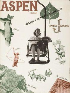 Poster Aspen Colorado - World's longest chairlift, 1948. Design: Herbert Bayer