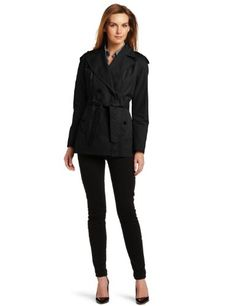 Larry Levine Women`s Water Resistant Double Breasted Lightweight Trench Coat - Black (Sizes S-XL) $46.99