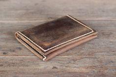 Men's Leather Wallet /Ultra Slim Minimalist Rustic door JooJoobs