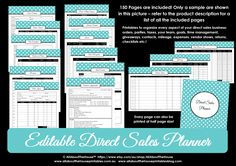 Editable direct sales planner printable pdf polka dot aqua