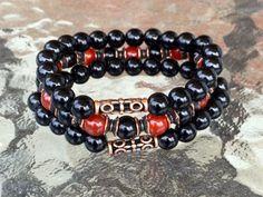 Black Red Onyx Wrist Mala Beads Healing Bracelet Root Chakra Mala Beads - Emotio  | eBay