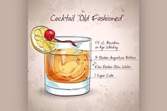 Old fashioned cocktail by Netkoff on Creative Market