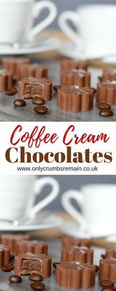 Homemade Coffee Cream Chocolates - How to make homemade chocolats filled with a coffee ganache. They make the perfect gift for coffee - Chocolate Pack, Chocolate Candy Recipes, Chocolate Filling, How To Make Chocolate, Chocolate Coffee, Chocolate Ganache, Chocolate Bon Bons Recipe, Chocolate Making, Coffee Cream