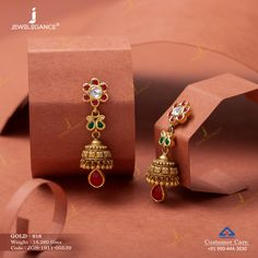 Jadtar Earring jewellery for Women by jewelegance. ✔ Certified Hallmark Premium Gold Jewellery At Best Price Gold Hanging Earrings, Gold Jhumka Earrings, Jewelry Design Earrings, Gold Earrings Designs, Anklet Jewelry, Antique Earrings, Gold Jewelry, Jhumka Designs, Small Earrings