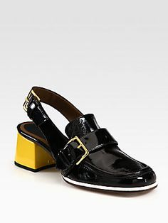 Marni Patent Leather Loafer Slingback Pumps
