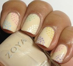 Dots featuring Zoya Lovely Spring 2013 Collection. Fun idea for a spring pedicure