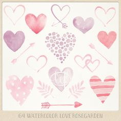 """Valentine Watercolor clipart hearts arrows pink purple red """"rose garden"""". watercolour clip art graphics for cards, printables wall art etc"""