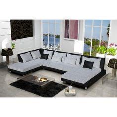 Grand canapé à angle gauche en simili cuir et tissu bicolore noir et gris