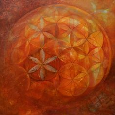 The seed of life  Acrylic and Gold Leaf on Canvas 60x60x3 cm