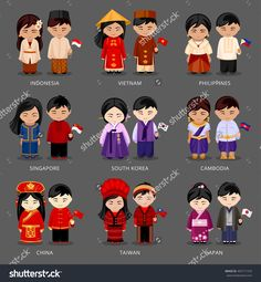 Find Set Asian Pairs Dressed Different National stock images in HD and millions of other royalty-free stock photos, illustrations and vectors in the Shutterstock collection. Thousands of new, high-quality pictures added every day. Anastasia, Flat Illustration, Illustrations, Country Costumes, Costumes Around The World, World Thinking Day, Asian, Grafik Design, Girl Cartoon