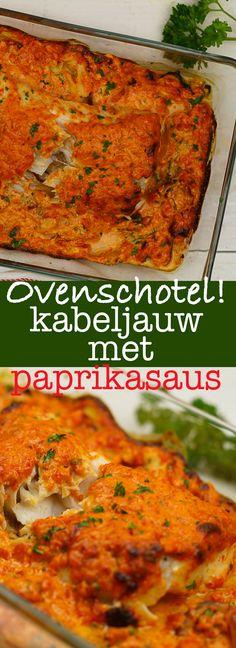 Ovenschotel kabeljauw in gegrilde paprikasaus #recipe #recept #ovenschotel #onepot #cod