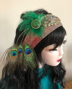 Excited to share this item from my shop: Peacock head band in green and red, genuine leather and peacock feathers Great Backgrounds, Stainless Steel Mesh, Peacock Feathers, Handmade Jewelry, Hair Accessories, Etsy Shop, Band, Green, Leather