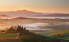 Tuscan landscape with low fog