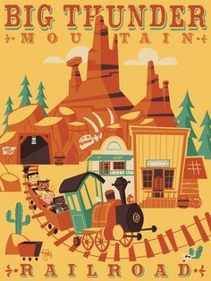 Disney WonderGround Frontierland Big Thunder Mountain Railroad by Ben Burch New #Disney