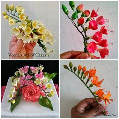 Gum Paste Freesia Tutorial (with/ w/o cutters ) Sugar Paste Flowers, Icing Flowers, Fondant Flowers, Edible Flowers, Diy Flowers, Paper Flowers, Fondant Flower Tutorial, Cake Tutorial, Fondant Rose