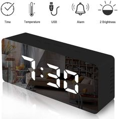 Trongle Lambony Digital Mirror Alarm Clock with Temperature Led Display Snooze Time Adjustable Brightness USB & Battery Powered for Bedroom, Office, Black, 14.6 x 8.4 x 4.2 cm: Amazon.co.uk: Kitchen & Home