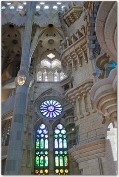 La Sagrada Familia, Barcelona.  There was still scaffolding inside when I was there.  Need to go back and check the progress!