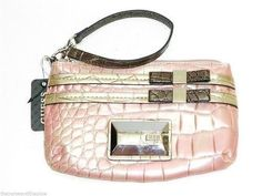 GUESS by MARCIANO Croco Pearl Satine Glam Wrislet Sling Clutch Bag Pink Metallic Silver Purse -- Learn more by visiting the image link. Clutch Bag, Crossbody Bag, Silver Purses, Guess Handbags, Coin Bag, Guess By Marciano, Evening Bags, Image Link, Metallic