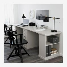 Ikea furniture is quite efficiency-oriented, but what if we tell you there are Ikea office furniture hacks that might make your life a lot easier? From a computer shelf you can retract or store up against the wall to a more traditional looking workstation, we found creative and useful Ikea office furniture hacks for all tastes and needs. We talked traditional, but of course, the idea will be traditional looking because we all know Ikea is great for that modern and contemporary furniture. Home Office Space, Office Workspace, Home Office Design, Home Office Decor, Home Decor, Kids Office, Office Spaces, Office Desks For Home, Office 2020